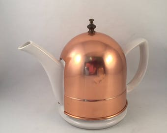 Vintage Porcelain White Tea Pot with Insulated Copper Cover Warmer with Brass Handle