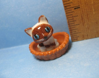 BASKET CAT - Blue-eyed Cat Kitten Kitty  in a woven basket 2 pcs-  French Porcelain Feve Feves Mini King Cake Figurine Miniature Y75