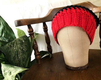 Roses Are Red And Some Beanies Are Too (red and navy slouch beanie)