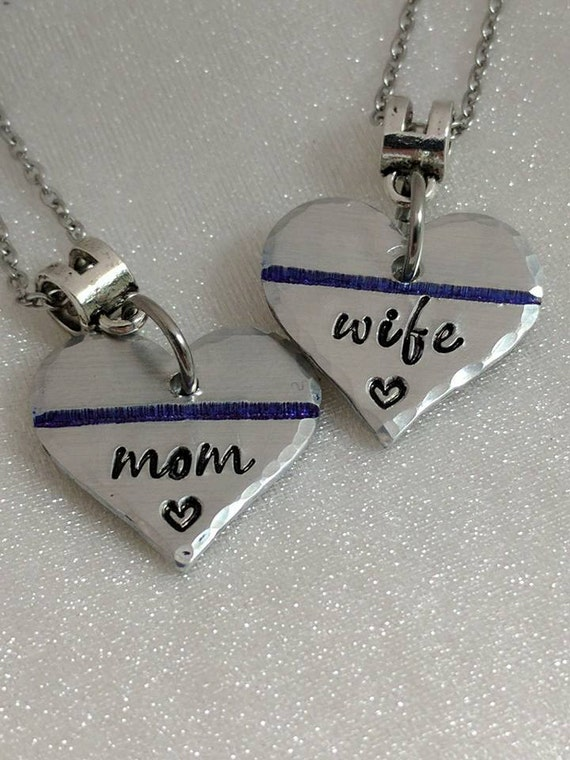 Thin Blue Line Necklace - Police Wife Jewelry - Police Wife Gift - Police Wife Necklace - Wife of Officer Jewelry - Hand Stamped - Handmade