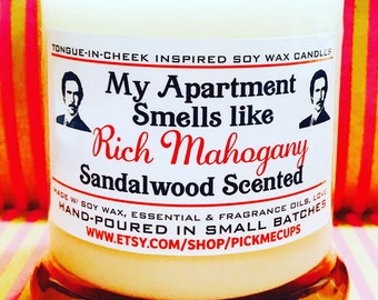Valentine's Day Candle- Gift- Love- Gift for girlfriend- Gift for boyfriend- Anchorman- Rich Mahogany- Ron Burgundy- Funny Candles