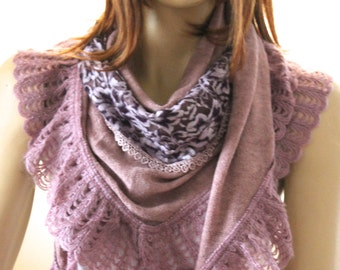 woman accessories, scarves, shawl - scarf - lilac shawl - spring shawl - winter shawl - tricot shawl - tricot scarf - women scarves