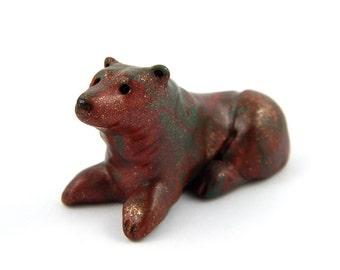 Mossy Bronze Bear, Coppery Brown Bear Figurine, Hand Sculpted Miniature, Pocket Bear Totem, Animal Sculpture