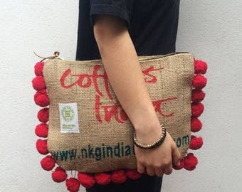 Jute and Pompon Clutch