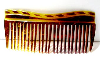 Vintage Faux Tortoise Lucite Comb Midcentury Hair Accessory