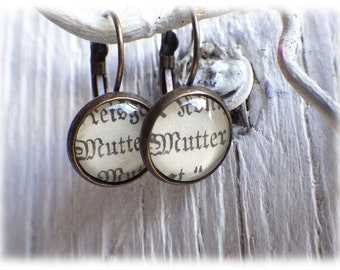 Mother - earrings literature jewelry earrings in vintage style with noble pearl cabochon love mothers day
