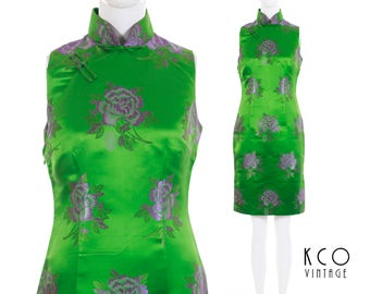 Vintage Green Silk Cheongsam Dress Lavender Floral Brocade Embroidered Asian Wiggle Shiny Dress Women's Size Small