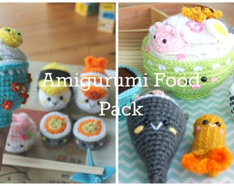 Amigurumi Food PACK Bento Family 1 & 2 Crochet Pattern/ Sushi Set