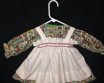 Dress and Apron for 30 INCH Raggedy Ann Doll; Green Patchwork dress, Ribbon and Lace trim at the waistband;doll clothes