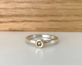 Rose cut diamond set in 18ct yellow gold on a silver polished ring band stacking ring