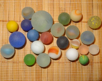 Lot of 24 Beach Glass-Like Vintage Marbles / Frosted Marbles / Game Marbles / Toy Marbles / Glass Marbles / Craft Marbles / Lot #248