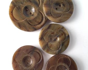 """Vintage 30s Carved Floral Buttons, Set, Early Plastic, Marbled, Olive, Brown, Four Small - 1"""", One Large - 1 1/2"""", Bakelite, Celluloid Style"""