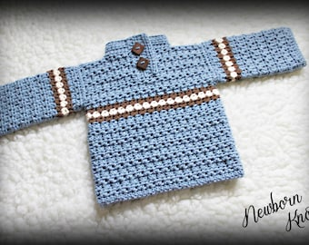 CROCHET PATTERN For Baby Boy or Girls Striped Sweater. Pattern number 009. Instant Download