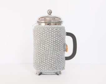 Grey knit coffee cosy - Cafetiere cosy - Coffee jug warmer - French press cover - Coffee press cosy - Coffee pot cosy - Coffee lover gift