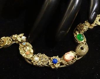 Vintage Goldette Slide Victorian Revival Style Bracelet