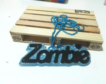 Necklace with resin pendant - zombie blue