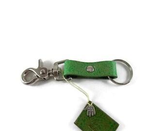 Key ring, leather key ring, key chain, key fob, key holder, trigger snap key ring, sea foam key chain, green key chain, Easter gift
