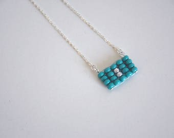 Necklace chain pendant woven minimalist green - the case of babes