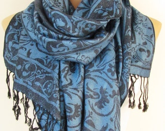 Blue and Black Pashmina Scarf Oversize Scarf Fall Winter Scarf Large Scarf Women Fashion Accessories Holiday Christmas Gift Ideas For Her