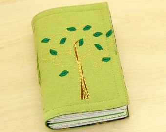 Handmade cotton fabric journal, notebook, diary, travel journal, embroidered cover, drawing paper, 240 pages