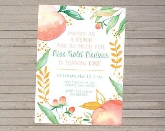 Sweet Peach Watercolor Birthday Invitation -- First Birthday -- Peaches Party -- Custom Invitation -- Printable Digital File -- 5x7