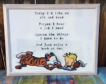 Sit and Read [color]- Calvin and Hobbes painted PRINT; comic, tiger, calvin and hobbs, bill waterson, spray paint, pop stencil art, graffiti