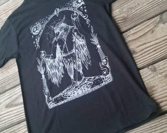 Crow Shaman // For not even the wise know all ends // Hand Screen printed T-shirt