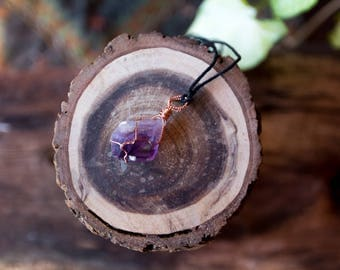 Amethyst raw gemstone necklace wrapped in copper wire