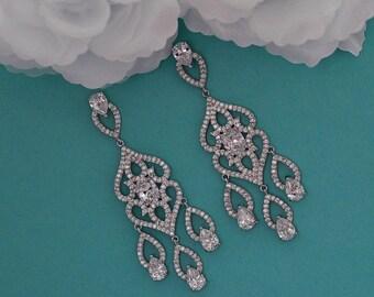 Chandelier Bridal Earrings CZ Swarovski Crystal Dangle Long Earrings Vintage Cubic Zirconia Bridal Wedding Jewelry Prom Earrings 007