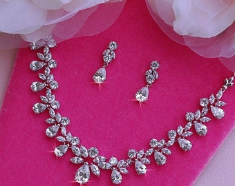 Swarovski Bridal Necklace Earrings Set Wedding Jewelry Party Pageant CZ Zirconia Crystal Bride Accessories Prom Weddings Accessory 021
