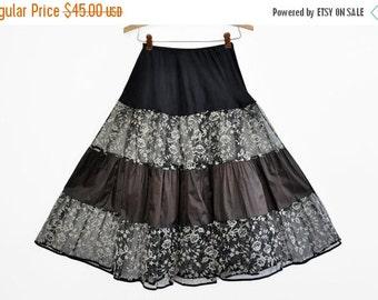 ON SALE Vintage 1950's Flocked Black and White Crinoline Petticoat