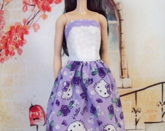 Handmade, Barbie clothing, lavender and purple, kitty cat dress, purple roses, Barbie dress, fashion doll clothes, doll dress