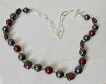 Sterling Silver Swarovski Pearl and Crystal Necklace Hand Crafted One of a Kind OOAK Original Design