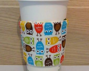 Colourful Owls Fabric Coffee Cozy