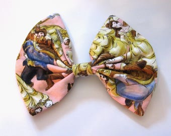 Beauty and the Beast Fabric Hair Bow. Disney Bow. Disneybound Bow. Emma Watson. Belle Hair Bow. Disney Inspired.