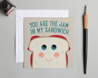 Jam, Jam sandwich, Blank card, Friendship, Good wishes, Thank you, You are the jam in my sandwich, Bright, Card, Greetings, Modern, Funny,