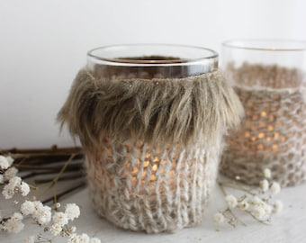 Forest Spell . set of two candle holders wool and fur knitting for scandinavian and viking decoration .