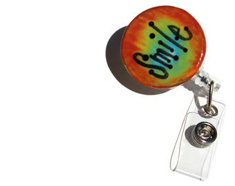 Rainbow Smile Retractable RN ID Badge Reel, Colorful Belt Clip ID Holder, Graduation Gift for Nurse, Scissor Reel for Quilter, Knitter