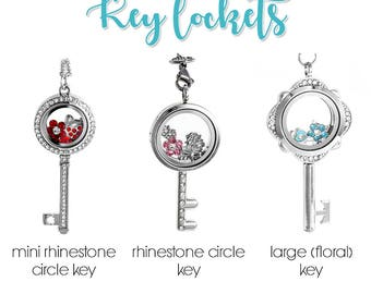 Floating Shape Lockets with Choice of 6 Charms