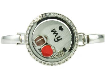 Floating Locket Bangle Bracelet with Choice of 6 Charms and 1 Plate