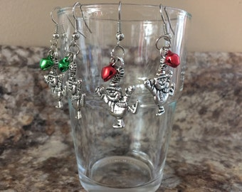 Snowman Earrings - Christmas Earrings - Holiday jewelry - Perfect stocking stuffers