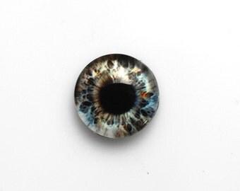14mm handmade glass eye cabochon - grey eye - standard profile