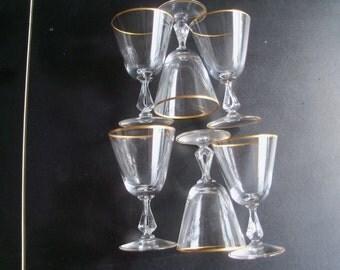 Fostoria Ambassador Crystal Set Of 6 Wine Glasses