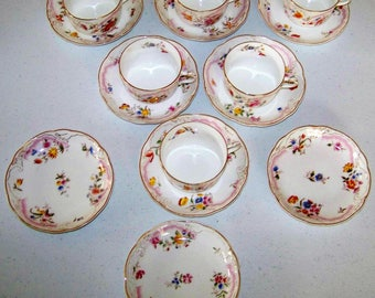 Rorstrand Sweden Pattern 779 Flowers Gold Trim Set Of Six Cups & Nine Saucers