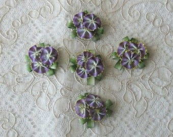 5 Small Ribbonwork Floral Appliques - Purple and Green Ombre Ribbon - Crafts, Sewing, Crazy Quilt, Scrapbooking, Dolls