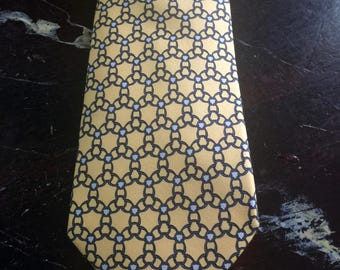 Silk Hermes necktie in yellow and blue,circa 1980s
