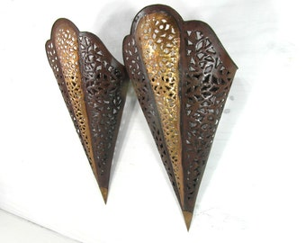 2 Maroccan sconce lamp shades, gold and brown wall light shades, ethnic home decor, African lamp shades