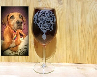 Pet Gift, Dog Gift, Dog Wine Glass,Hand Engraved Pet Gift, Dog Lover Gift,  Pet Lover Gifts, Hand Engraved Wine Glass, Custom Pet Portrait