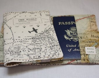 Passport Wallet Passport Cover Passport Holder with Credit Card Pockets in Airplane Map Print Fabrics