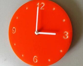 """Round Orange & White Clock - White Acrylic Back, Orange Gloss Finish Acrylic with White hands, Silent Sweep Movement.  Sizes 8"""" or 12"""""""